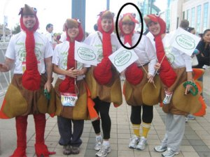 Photo of me in a turkey costume - 2nd from right