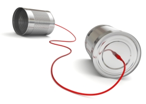 photo illustrate networking - tin cans with a string
