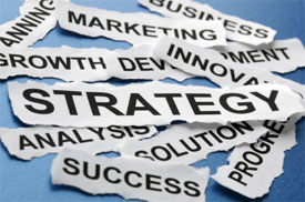 image with words like strategy and success